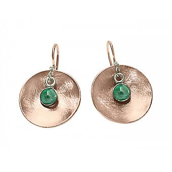 Ladies earrings 925 Silver rose gold plated shell emerald green 3 cm