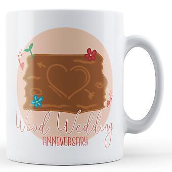 Trä bröllopsdag (5th) - tryckt mugg
