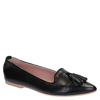 Black soft leather ballerinas with tassels