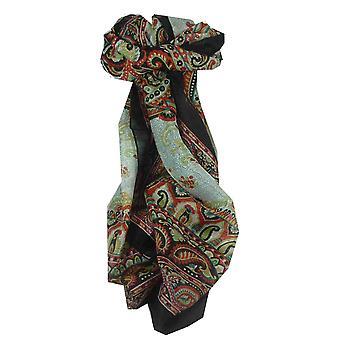 Шелковица шелка традиционный длинный шарф Сафии черный, пашмины & шелка