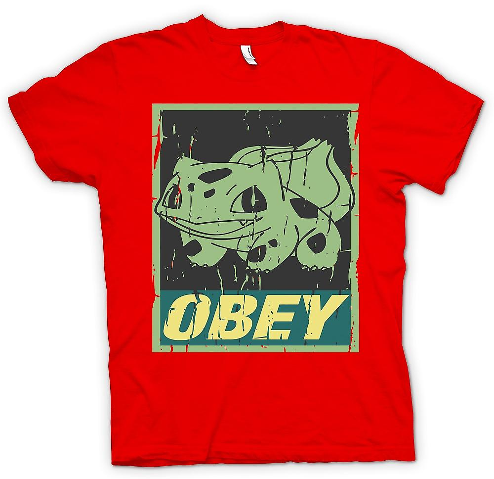 Mens T-shirt - Bulbasaur Obey - Cool Pokemon Inspired