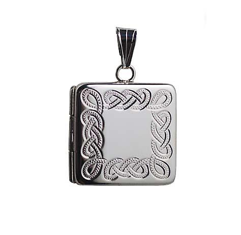 Silver 22mm celtic engraved flat square Locket