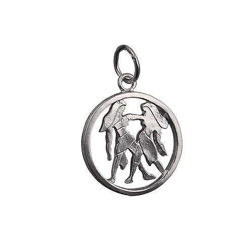 Argent 11mm percé Zodiac pendentif Gémeaux