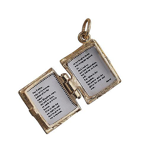 9ct Gold 15x14mm The Holy Bible Pendant or Charm