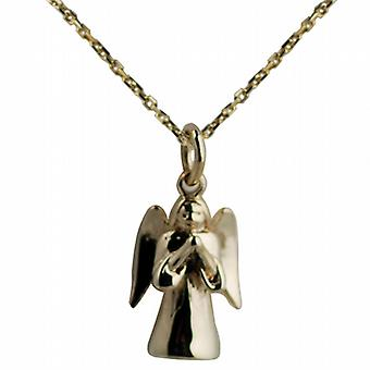 9ct Gold 17x12mm solid Guardian Angel with Cable link chain