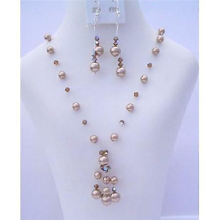 Custom Swarovski Bronze Pearls & AB Smoked Topaz Crystals Necklace Set