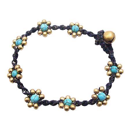 Turquiose Semi Precious Cheap Jewelry Interwoven Cord Bracelet