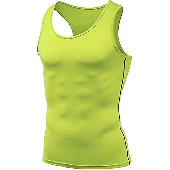 Tesla MUN04 Cool Dry Sleeveless Compression Muscle Tank - Neon Yellow/Dark Gray