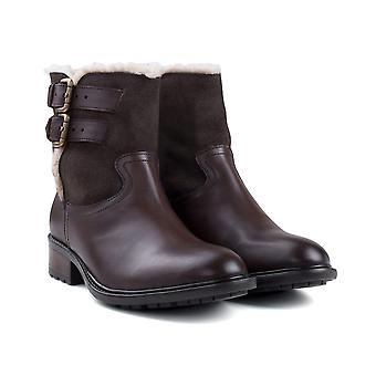 Ladies brown leather suede fur lined boot boot