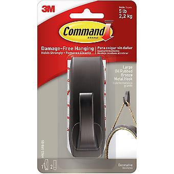 Command Modern Reflections Metal Hook 1/Pkg-1 Bronze Hook & 2 Strips