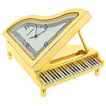 Miniatur-Analogue Goldtone Metal Grand Piano Novelty Collectors Clock IMP36