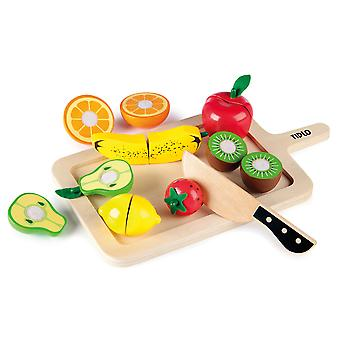 Tidlo Wooden Play Food Cutting Fruits Set Pretend Roleplay Accessories
