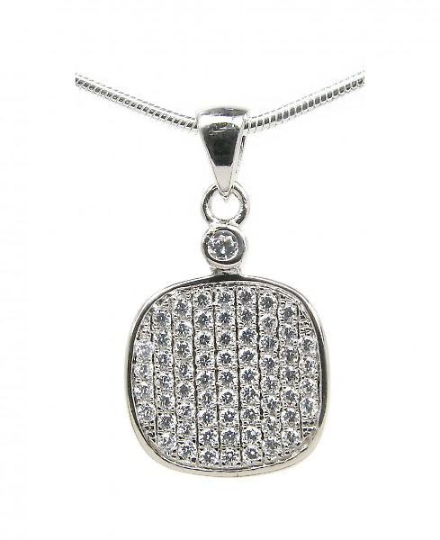 Cavendish French Silver and CZ square drop pendant