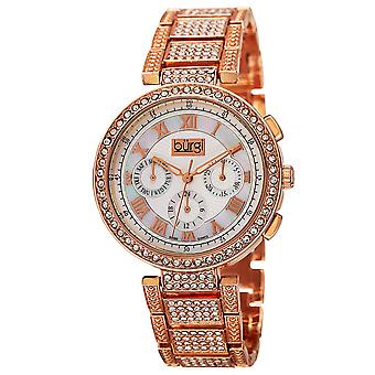 Burgi Women's Quartz Mother-of-Pearl Multi Function Crystal Accented Bracelet Watch BUR123RG