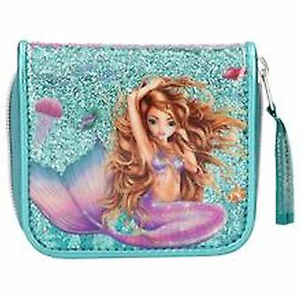 Fantasy Mode Purse Bi-fold Coin Wallet Mermaid Turquoise Glitter