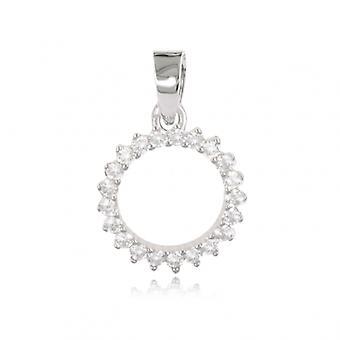 Rhodié Circle silver hänge med zirkonium kubik