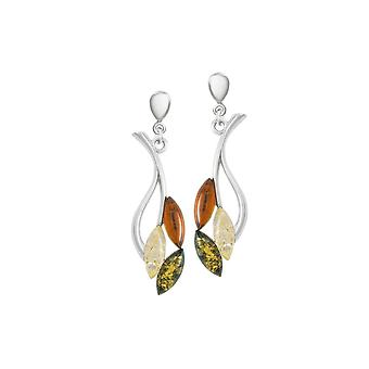 Eternal Collection Autumn Leaf Amber Sterling Silver Drop Clip On Earrings