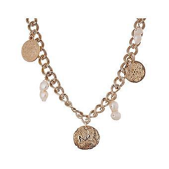 Collier Gemshine avec des pièces de monnaie et des perles de culture baroque pendentif or plaqué