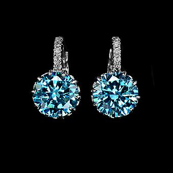 18K Gold Plated 2.75 Carat Blue Cubic Zirconia Earrings, 1.7cm