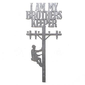 Lineman - i am my brothers keeper - metal cut sign 24x11in