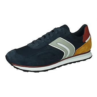 Geox U Vincit C Mens Suede and Nylon Trainers / Shoes - Blue