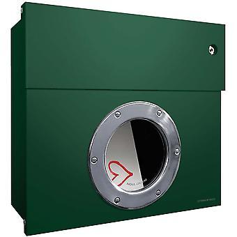 Radius Letterman 1 Briefkasten dunkelgrün mit LED-Klingel weiß 506 O-KW