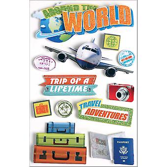 Paper House 3 D Sticker World Travel Stdm40e