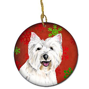 Westie Red Snowflakes Holiday Christmas Ceramic Ornament SC9410