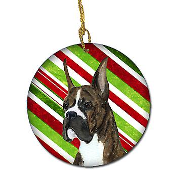 Boxer Candy Cane Holiday Christmas Ceramic Ornament SS4577