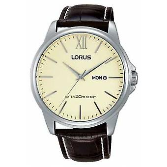 Lorus Mens Brown Leather Strap Cream Dial RXN19DX9 Watch