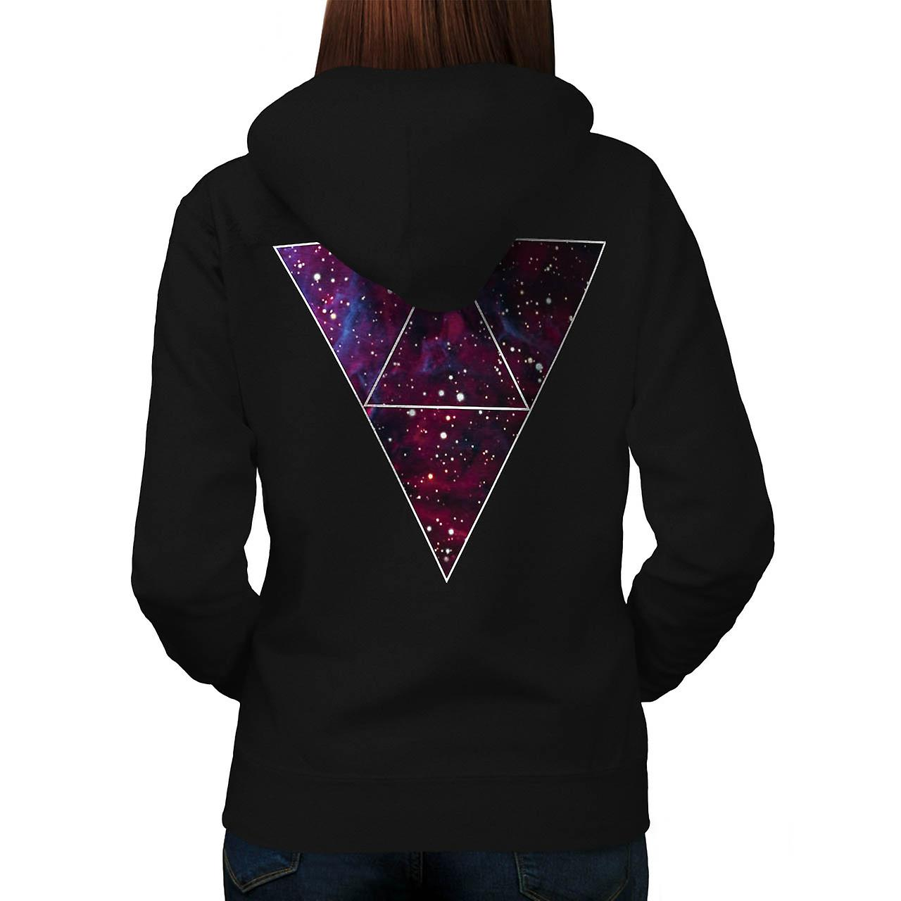 Universe Of Triangles Space Life Women Black Hoodie Back | Wellcoda