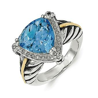 Sterling Silver With 14k Swiss Blue Topaz and 1/10ct Diamond Ring - Ring Size: 6 to 8
