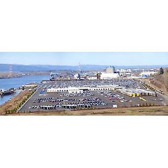 Vista di alto angolo di grandi lotti di parcheggio Willamette River Portland Multnomah County Oregon USA Poster Print