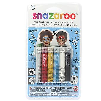 Snazaroo Pack of 6 Adventure Face Paint Sticks Fancy Dress Accessory