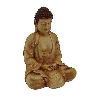 Zittend mediteren Boeddhabeeld decoratieve Faux gesneden hout Look