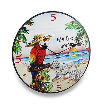 Его пять O часов где-то тропических попугай настенные часы 15 в.