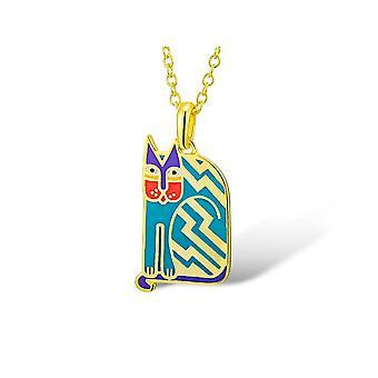 Laurel Burch aztekischen Katze blau Cloisonne Anhänger w / Halskette