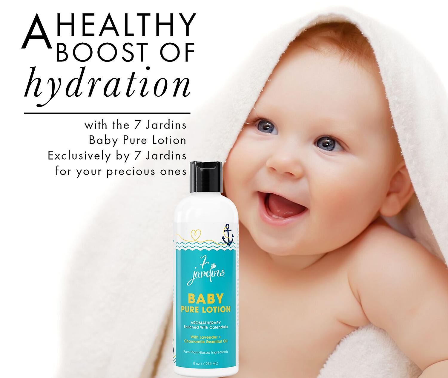 7 Jardins Natural Baby Pure Lotion - Daily Body Moisturizer for All Skin Types Enriched with Calendula, Chamomile and Lavender Essential Oils. 100% Safe and Sulfate Free - 8 oz.