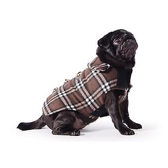 Small Bite Check Duffel Coat Chocolate Extra Small