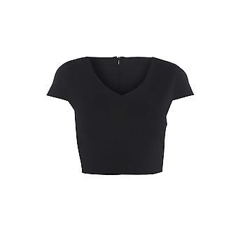 M&S Black V-neck Crop Top UK SIZE 12