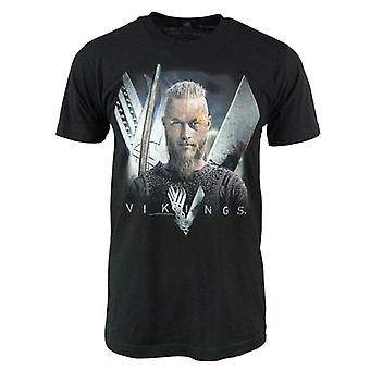 Vikings Mens Ragnar Lothbrok Vikings T Shirt Black