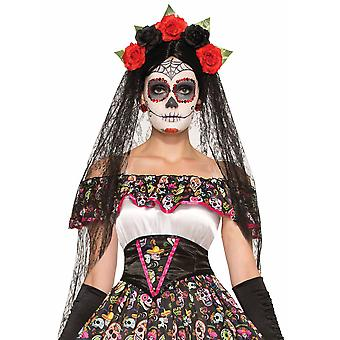 Day Of The Dead Senorita Mexican Skull Women Costume Costume Black Veil Headband