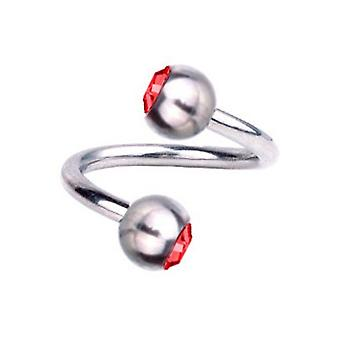 Torsione a spirale Piercing titanio 1,6 mm, SWAROVSKI ELEMENTS rosso | 8 - 12 mm