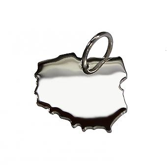Trailer map Poland in solid 925 Silver Pendant