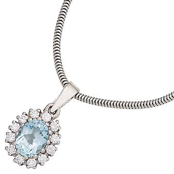 Pendants silver pendant sterling silver rhodium plated 12 cubic zirconia 1 Blue Topaz