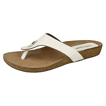 Leather Collection Womens/Ladies Casual Low Wedge Toe Post Sandals