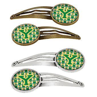 Bokstaven Y fotball grønn og gull sett med 4 Barrettes hår klipp