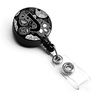 Letter J Day of the Dead Skulls Black Retractable Badge Reel