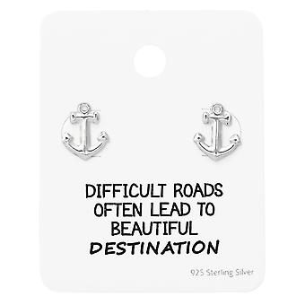 Anchor Ear Studs On Motivational Quote Card - 925 Sterling Silver Sets