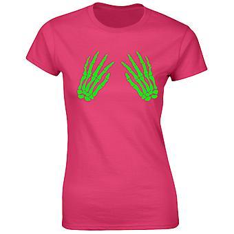 Skelett händer främre glöd i den mörka Halloween skrämmande maskeraddräkter roliga Womens T-Shirt 8 färger av swagwear